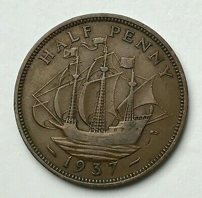 Dated : 1937 - Half Penny - 1/2d Coin - King George VI - Great Britain