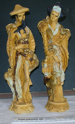 Vintage Asian Man Woman Figurines Statues Carved? Resin? Chinese? Manchurian?
