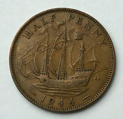 Dated : 1944 - Half Penny - 1/2d Coin - King George VI - Great Britain
