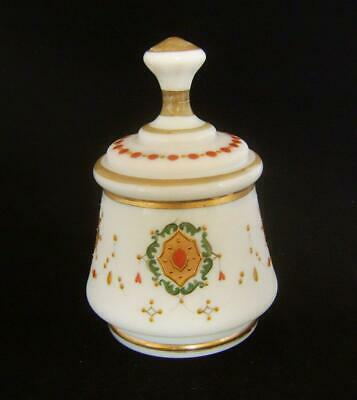 Victorian White Opaque Glass Sugar Bowl & Lid: Raised Gilt & Enamels Decoration