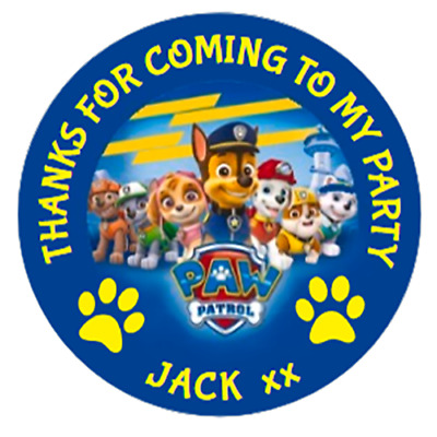 24 LARGE Personalised PAW PATROL Party Bag Stickers  63mm Sweet Cone Labels