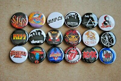Classic Rock Band Buttons Pins 80s  Music 1 Inch Badge Lot resale resell pinback