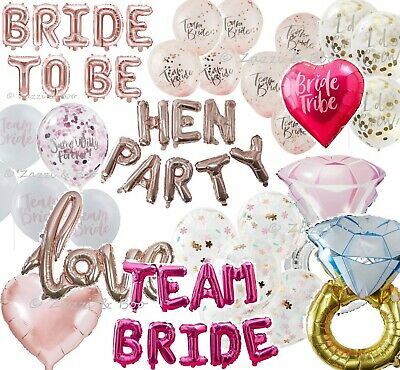 Team Bride To Be Hen Party Night Rose Gold Pink Confetti Balloons Foil I Do Crew