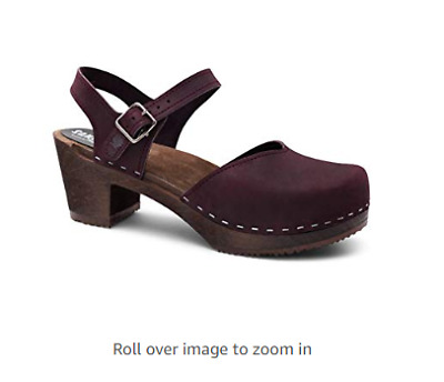 d596f2633e34f SWEDISH WOODEN HIGH Heel Clog Sandals Womens Mules and Clogs Closed Toed  Leather
