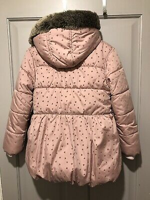 """GIRLS COAT MARKS /& SPENCER /""""SECONDS/"""" HOODED THERMAL PADDED FAUX FUR COLLAR COAT"""