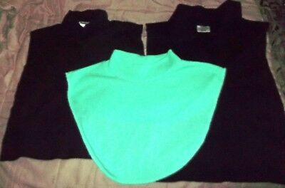 Lot of 3 Dickies Collars Accessory (2 Black, 1 Mint Green) Cotton Varied Styles