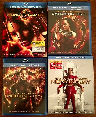 The Hunger Games Blu-ray Lot Complete Set 4-Film Collection Mockingjay 1 2 Fire