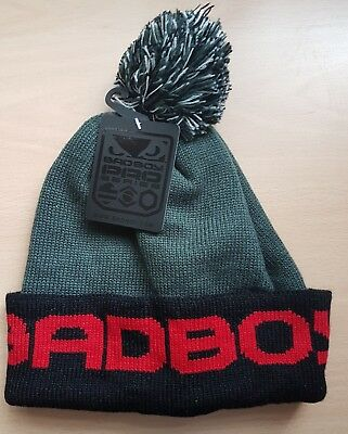 Bad Boy Bobble Beanie Grey Red keep warm on terraces football hat wooly bobble