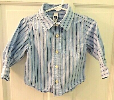 Baby Gap 12-18 Mths Button Down Long Sleeve 100% Cotton Blue White Striped Shirt