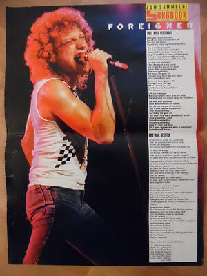 FOREIGNER That was yesterday BRAVO A4 Songbook Clipping 175