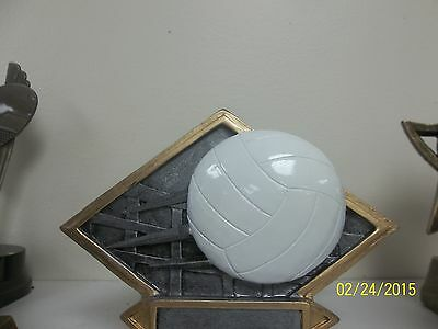 Spin Volleyball Trophy Low Shipping #T249 White Marble base School Team Sports
