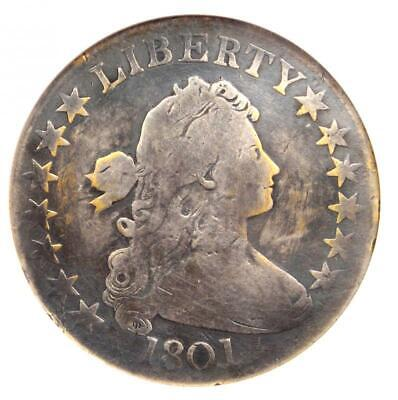 1801 Draped Bust Half Dollar 50C - Certified ANACS VG Details - Rare Date Coin!