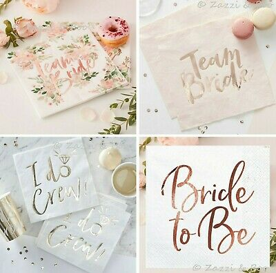 Pink Rose Gold Team Bride To Be Paper NAPKINS Serviettes Hen Do Party I Do Crew