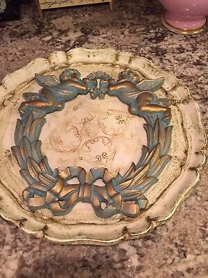 Vintage Cast Iron Wreath with Bow and Cherubs Metal French Blue and Gold