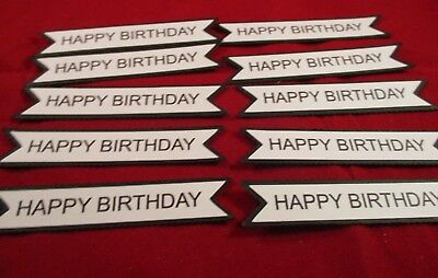 10 Printed Happy Birthday Banner Die Cuts..............cardmaking