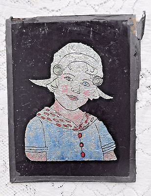 Antique Art Deco Dutch Girl Tinsel Foil Art Reverse Glass W Advertising On Back
