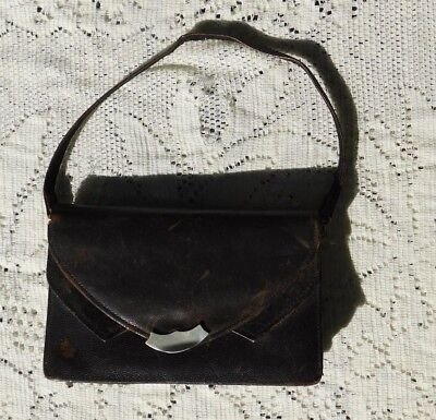 Antique Arts & Crafts Pin Seal Leather Purse / Bag W Compartments