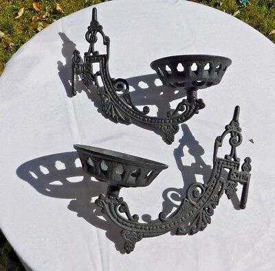 Antique Pair Black Cast Iron Lamp Holders Very Gothic