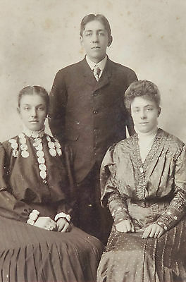"""Antique Late 1800'S Cabinet Photo Of Two Women & One Young Man 6"""" X 9"""""""