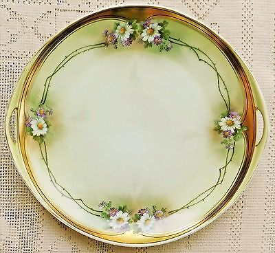 "VINTAGE EARLY 20th CENTURY HAND PAINTED HANDLED 10"" SERVING DISH W/ GOLD TRIM"