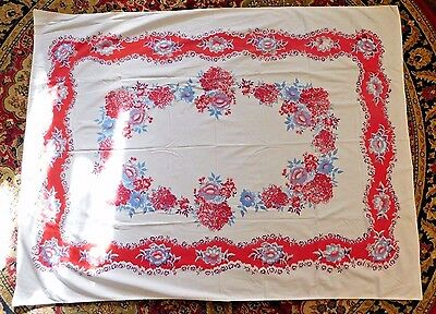 VINTAGE 1940's COLORFUL COTTON TABLECLOTH w/ FLOWERS 50 by 65 inches