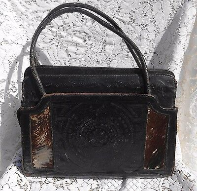 Antique Embossed W Deer Black Leather Purse Red Leather Inside Pony Hair