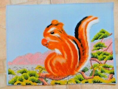Vintage Crewel Embroidery Fuzzy Chipmonk Eating A Nut Finished Picture On Cardbo