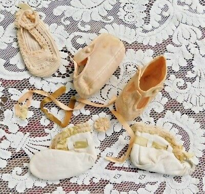 TWO PAIR ANTIQUE  1920's BABY SHOES SATIN AND LEATHER PERHAPS FOR DOLLS