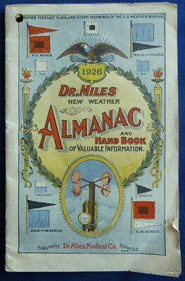 Vintage 1926 Dr. Miles Medical Co Weather Almanac Quack Cures Elkhart IN S/B