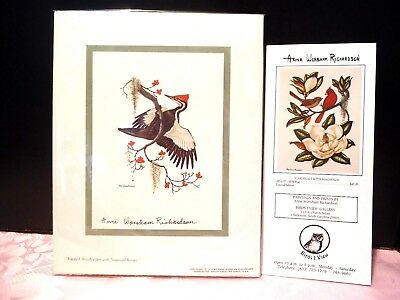 Pileated WOODPECKER with Dogwood Berries Print Anne Worsham Richardson signed