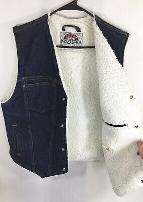 Vintage Levi's Sherpa Vest Size Medium 90's Denim Shearling Lined Jean Jacket