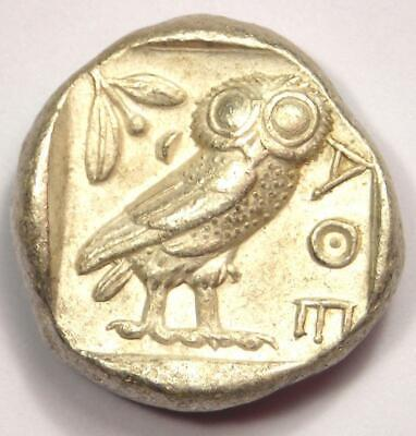 Ancient Athens Greece Athena Owl Tetradrachm Coin (454-404 BC) - Nice XF!