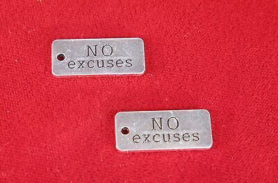 """BULK! 15pc """"No excuses"""" charms in antique silver style (BC1327B)"""