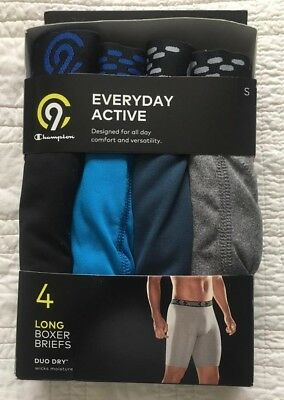 New Mens Champion Everyday Active Long Boxer Briefs Pack Of 4 Size 28/30