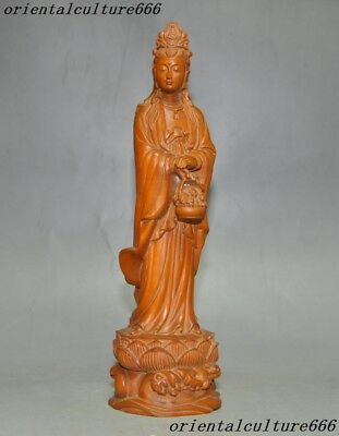 Old China Temple Boxwood Wood Pure Hand Carving Guanyin Kwan-Yin Goddess Statue