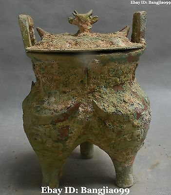 "10"" Old Chinese Bronze Ware Ancient Lion Beast Incense Burner Censer Statue"