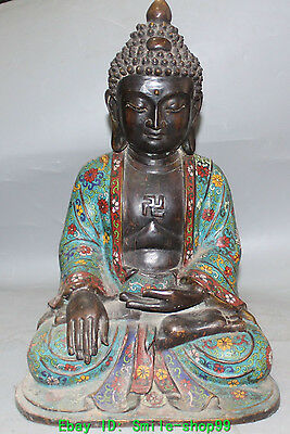 "18"" Marked Chinese Purple Bronze Cloisonne Shakyamuni Amitabha Buddha Statue"