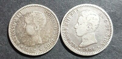 Spain 50 centimos 1892 and 1904