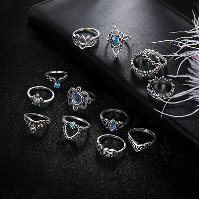 13Pcs/set Womens Vintage Silver Color Silver Plated Crystal Ring Set Jewelry D