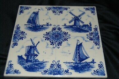 Vintage Delft Blue Hand Painted Windmill and Sailboat Ceramic Tile Holland