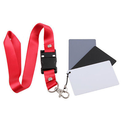 3 in 1 Digital White Black Grey Balance Cards 18% Card with Neck Strap D