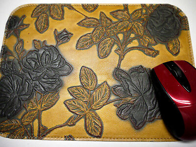Leather Mouse Pad Floral Unique Design Made in USA