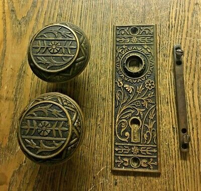 Antique Eastlake Pagoda Top Cast Brass Doorknobs & Plate, c1880's