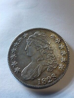 1828 Capped Bust Half Dollar Barely Circulated Gem Coin AU 🔱Nice Gold Toning🔱