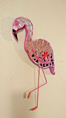 Flamingo Mosaic stain glass pink beads mirror art decor plaque wall hanging