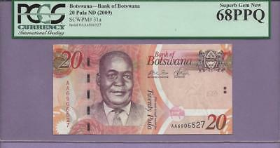 """Botswana 20 Pula  Pick 31a  PCGS PPQ 68  3/1  """"SCROLL DOWN FOR SCANS"""""""