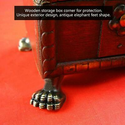 4pcs Elephant Feet Shape Jewelry Wood Box Decorative Antique Feet Leg Corner