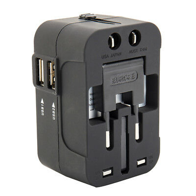 Dual USB PORT AU/UK/US/EU Plug International World Wide Universal Travel Adapter