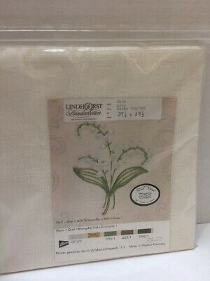 """Lindhorst Tablecloth Embroidery Stamped Floral 39.5""""X 39.5"""" Germany Linen Cotton"""