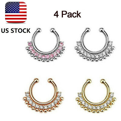 Fad Fake Septum Nose Rings Faux Piercing Nose Hoop Nose Studs Body Jewelry OF